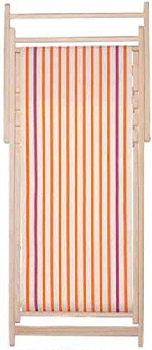 Chaise longue transat chilienne Marin Ecru Orange - Les Toiles du soleil