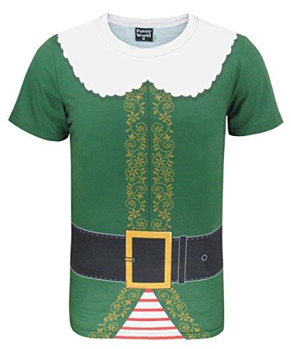 Funny World Herren Elfen Kostüm T-Shirts (M, Grün)