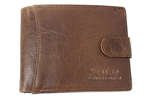 Porte-monnaie en cuir avec bouton-pression pour homme - marron clair