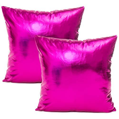 JOTOM Glänzende Einfarbig Kissenbezüge für Couch Schlafsofa Kissenbezug Kissenhülle Home Dekorative 45X45 cm, Set von 2 (Hot Pink)