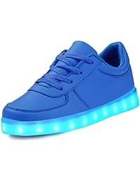 LeKuni Zapatillas con Luces LED 7 Colores USB Carga Luz Luminosas Flash Zapatos de Deporte Para(Talla 25-43)