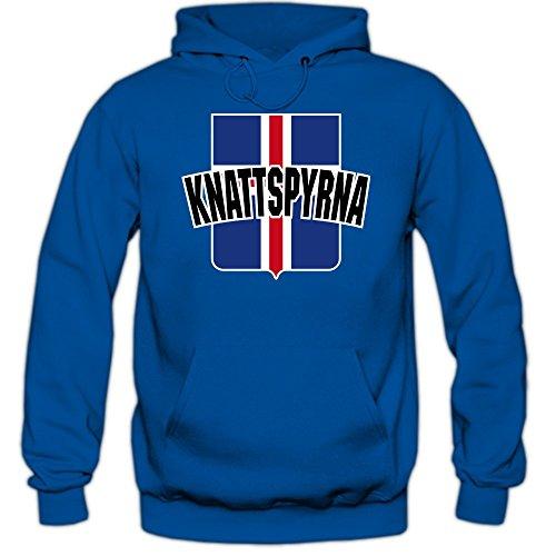 Island EM 2016 #10 Kapuzenpullover | Fußball | Herren | Knattspyrna | Wikinger | Trikot | Nationalmannschaft © Shirt Happenz, Farbe:Blau (Royalblue F421);Größe:L