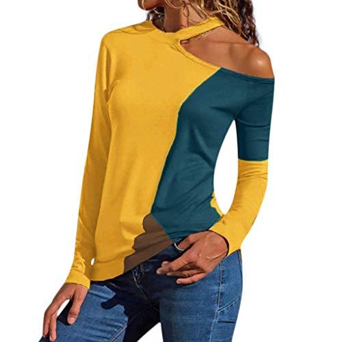 Darringls Frauen Hemd Lose Bluse Übergröße Tops Schulterfrei SweatHemd Asymmetrische Patchwork T-Hemds Lässige Pullover Fainosmny