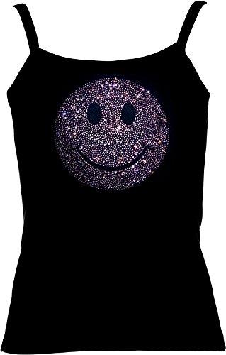 elegantes Shirt für Damen Strass superschöner grosser Smilie Strass ROSA  BIG Pink