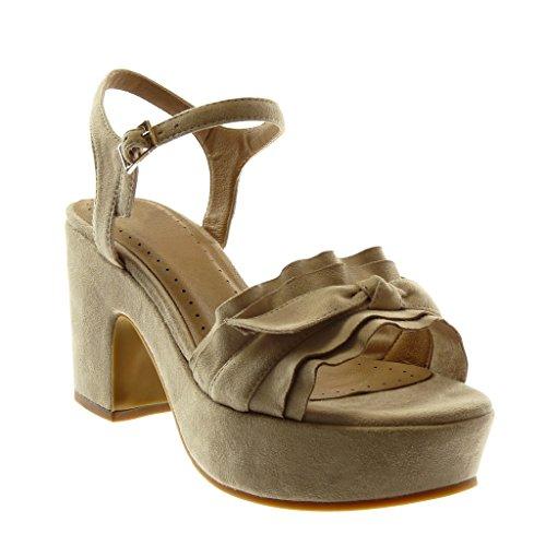 Angkorly Chaussure Mode Sandale Escarpin Lanière Cheville Plateforme Femme à Volants Noeud Boucle Talon Haut Bloc 8.5 CM Beige