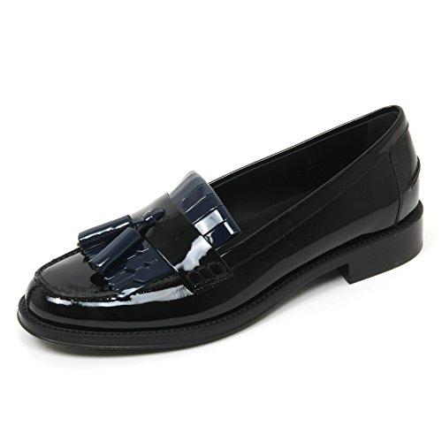 B9562 mocassino donna TOD'S scarpa frangia nero/blu chiaro loafer shoe woman blu chiaro/nero