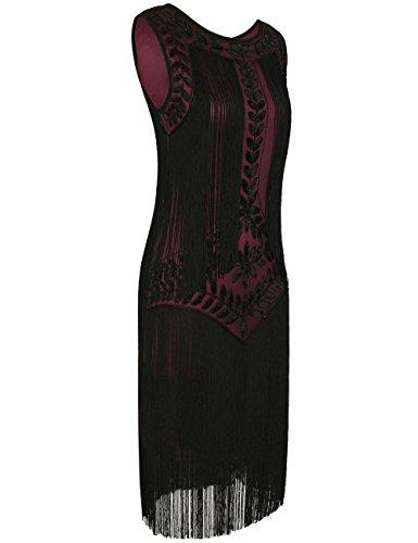 PrettyGuide Damen 1920er Vintage Paillette Alle Fransen Inspired Flapper Kleider Burgund