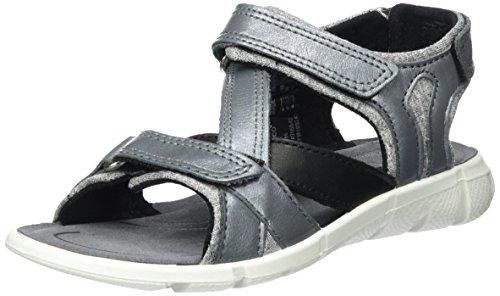 Ecco Mädchen Intrinsic Sandal Offene Keilabsatz, Grau (50402concrete-Black/Titan-Silver/Black), 34 EU