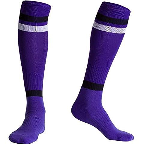 Fracer Men's Knee High Athletic Stripe Tube Socks for Football
