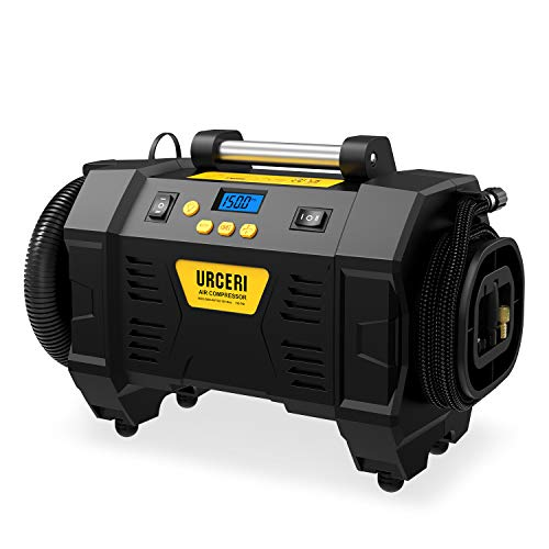 URCERI Compressore Aria Portatile Auto, 3 in 1 Pompa Elettrica Senza Fili 12V 150PSI Doppia Funzione (Inflator e Deflator), con 3 Ugelli, LCD Digitale Schermo per Pneumatici e Cuscini Aria