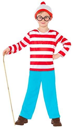 Fancy Me Jungen Mädchen Kinder Wo Ist Wally Waldo büchertag Kostüm Kleid Outfit 4-12 Jahre - Jungen, 12-14 Years (Und Waldo Brille Hut)
