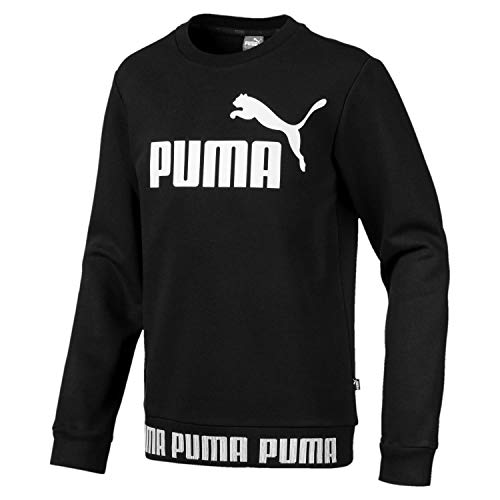 Puma Jungen Amplified Crew B Sweatshirt, Cotton Black, 152