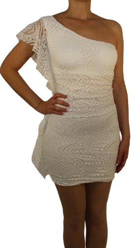 93951 Damen Mädchen Minikleid, Spitzenkleid, Oneshoulder, Viscose, Elastan, mintgrün, blau, schwarz, pink, weiß, rosa, royalblau Unigröße (XS, S). Weiß