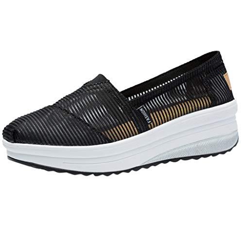 B-commerce Frauen Casual Sommer Laufschuhe - Mode Outdoor Flat Mesh Sportschuhe Atmungsaktiv Laufschuhe Gladiator Wedges Mesh Plattform Niedriger Absatz Damen Studded Wedge Heels