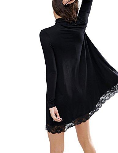 YesFashion Damen Kleid Spitzenkleid Pullover Sweatshirt Oberteil Tops  Langarmshirt Schwarz