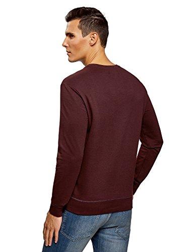 oodji Ultra Herren Baumwoll-Sweatshirt Basic Rot (4900N)