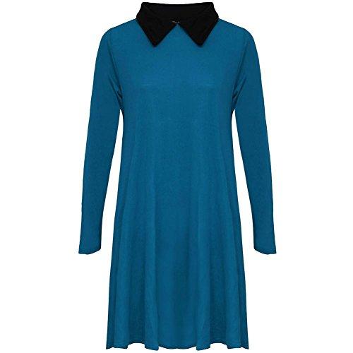 janisramone Nouveau femme extensible Robe évasée avec manches longues et col Peter Pan robe évasée simple Teal