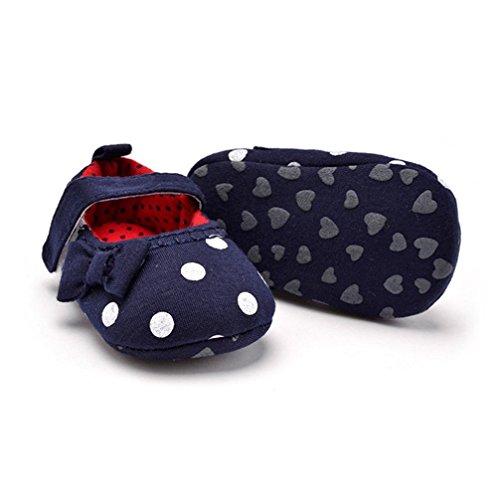 Jamicy® Baby Mädchen Sneaker süße weiche Sohle Kleinkind Anti-Rutsch Leinenschuhe Dunkelblau