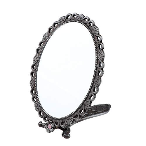 KESOTO Handspiegel Spiegel Vintage Nostalgie Kosmetikspiegel mit Klappbar Griff - Silber (Silber-geschenk-taschen Mit Griffen)