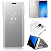 Galaxy A8 Plus 2018 Hüllen, MingKun Thin Spiegel Crystal Flip Case Cover für Samsung Galaxy A8 Plus 2018 PU Leder Leder Schutzhülle Plating Mirror Tasche Schale mit Standfunktion Halter - Silber