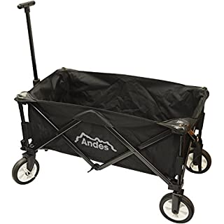 Andes Black Collapsible Portable Folding Camping Wagon Cart Trolley Festival