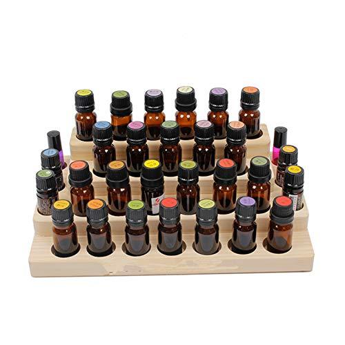 CHSEEA Ätherisches Öl Display Ständer Gestell Halter Organisator, 30 Löcher Holz Box Veranstalter Aufbewahrung Koffer Speicher Box für Nagellack, Duftöle, Ätherische Öle, Stain und Lippenstift #4