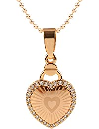 Ananth Jewels Heart Shaped Rose Gold Plated Pendant Necklace For Women - B073T43DWK