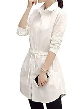 Scothen Mini camisa de gasa vestido de manga larga con cuello en V vestido de camisa casual mini vestido mujeres...