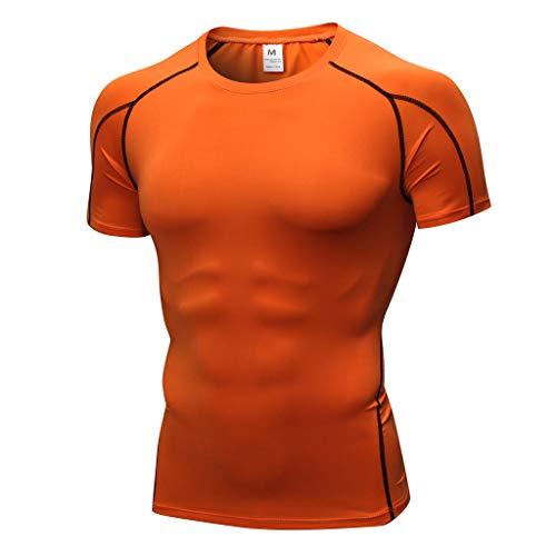 LMMET Maglietta Compressione UomoT Shirt Manica Corta SportiveFitnessBianco Blu Arancione Rosso Grigio Nero VerdeS/M/L/XL/XXL