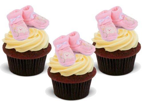 TÖCHTERCHEN ROSAFARBENE BABYSCHUHE - 12 essbare hochwertige stehende Waffeln Kuchen Toppers - BABY GIRL PINK BOOTIES Baby Girl Bootie