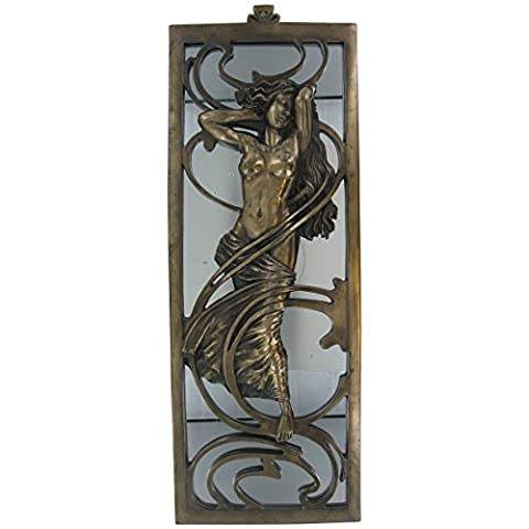Grand art deco Bronze Lady miroir Décoration Murale Plaque Hauteur: 44cm