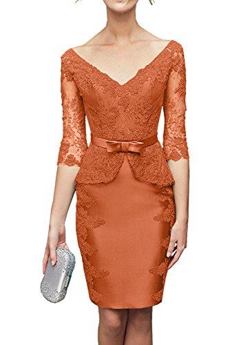 Charmant Damen Gruen Satin mit Spitze Abendkleider Kurzarm Partykleider Brautmutterkleider knielang Orange