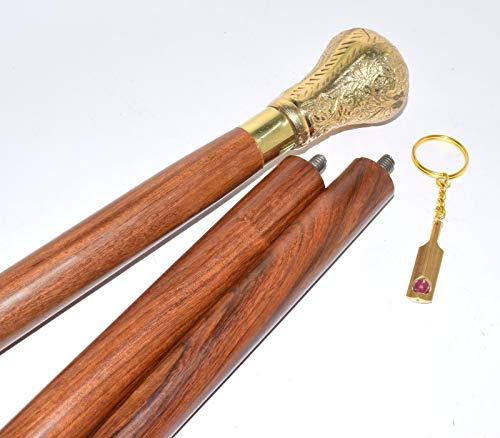 alfiya Holz-Gehstock, Antik-Optik, Handgefertigt, Derby-Kaschmir-Griff, Inklusive Schlüsselring A