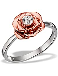 Goldmaid Women's Ring 925 Sterling Silver Rose red Gold-Planted white Zirconia