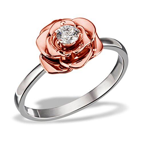 Goldmaid Damen-Ring Lovely Rosè 925 Silber teilvergoldet Zirkonia weiß Brillantschliff Gr. 54 (17.2) - Fo R7374S54 Schmuck