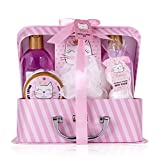 Accentra - Set da bagno e doccia Princess Kitty per donne e ragazze, con dolce profumo di fragola e vaniglia, set regalo da 7 pezzi