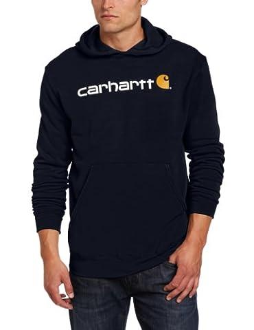 Carhartt 100074 Men Signature Logo Hooded Sweatshirt New Navy - M