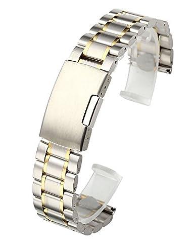 JSDDE Uhrenarmbänder massiv Edelstahl Uhrarmband mit Faltschließe Klassisch Metallarmband gerade