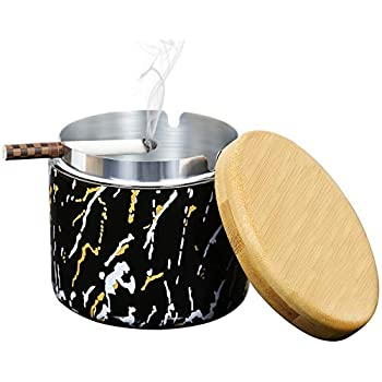 dewdropy Ceramic Ashtray with Lid,Windproof,Ash Holder for Smokers,Desktop Smoking Ash Tray for Home Office Decoration Black