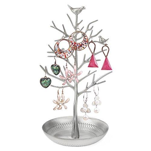 Vögeln Schmuckständer Baum Kettenständer Armbandständer Schmuckhalter Ohrringhalter, Metall Schmuckbaum Damen Geschenk Valentinstag - Silber (Halskette Baum Kleine Mädchen)