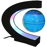 MECO Créatif Globe Terrestre Lumineux Flottant Magnétique Lévitation, avec LED Bleu(Interrupteur Tactile) sur Globe et LED Multi-couleur en Base bleu eu