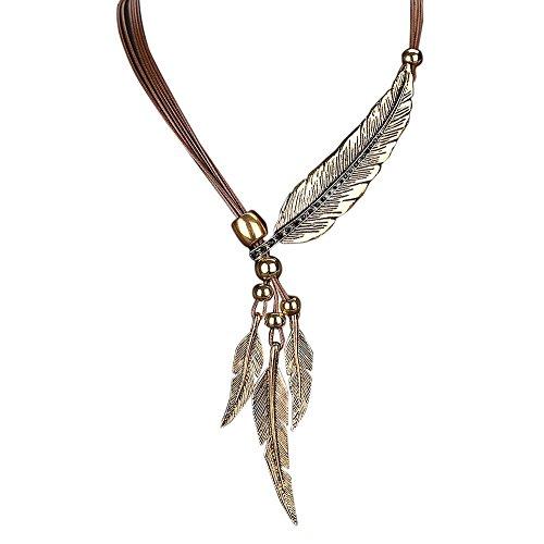 ODJOY-FAN Damen Retro Feder Anhänger Halskette Legierung Jahrgang Zeit Halskette Sweatshirt Kette Anhänger Schmuck (4.5X4cm)(Braun,1 PC)