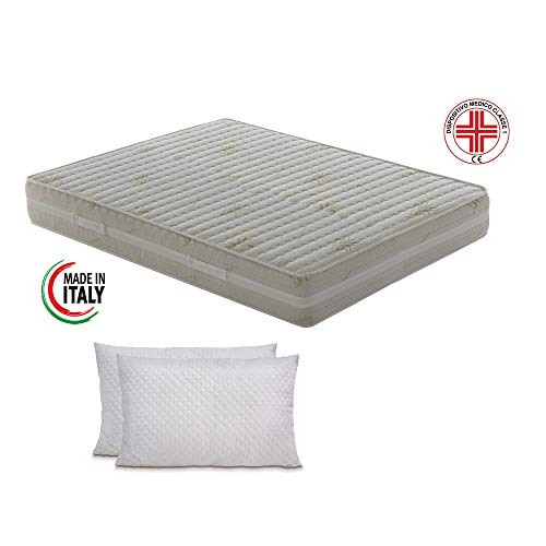 Materassimemory.eu - materasso matrimoniale top air 160x190 alto 25 cm detraibile con 7 zone differenziate rivestimento aloe vera cuscini in omaggio traspirante anti acaro made in italy