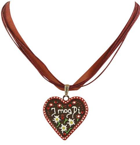 Ois Echt® Trachtenschmuck Lebkuchenherz Trachtenkette - Herz mit der Aufschrift I mog Di - rot