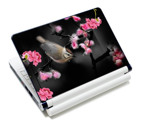 Luxburg® Design Aufkleber Schutzfolie Skin Sticker für Notebook Laptop 10 / 12 / 13 / 14 / 15 Zoll, Motiv: Vogel unter Kirschblüten - Design Notebook Skin