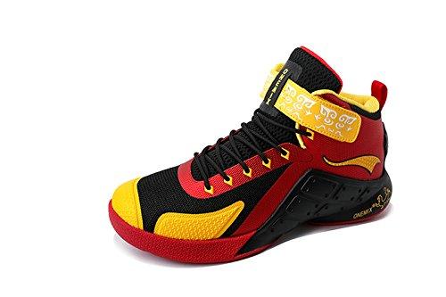 Onemix Herren Mid Air Basketballschuhe,Alltag Freizeit Basketball Schuhe Shoes,Gr 39-46 Rot / Schwarz / Gelb