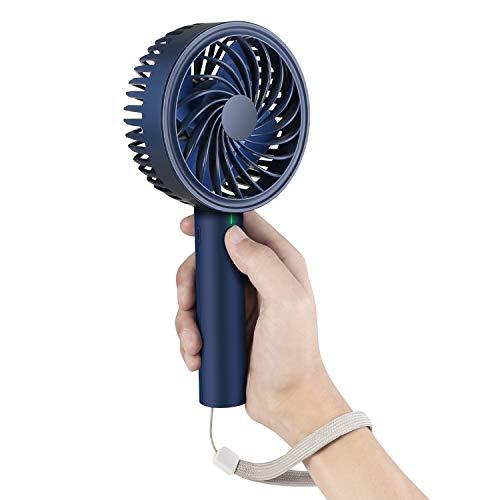 Kupbox Mini Fan, USB Mini Ventilator mit 2600mAh wiederaufladbare Batterie, Ultra leise Handventilator mit 4 Geschwindigkeitsstufen für Büro,Schlafzimmer,Outdoor und Reisen. Blau