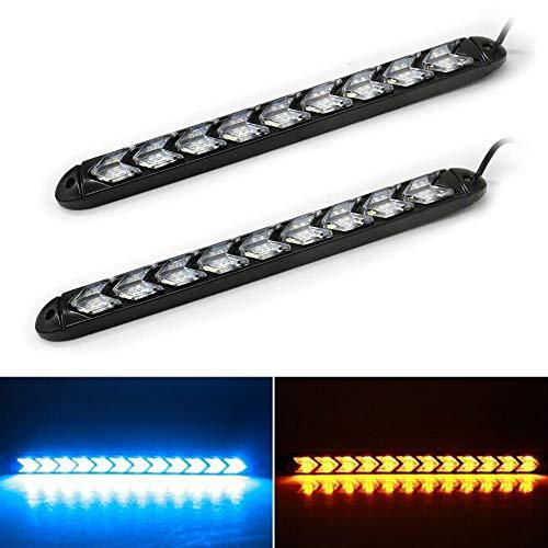 LanLan Phares Moto 2pcs LED Flexible Voiture Jour lumière Bande de lumière Phare Arrowhead Clignotant Clignotant Feux de véhicule Blue and Yellow Light