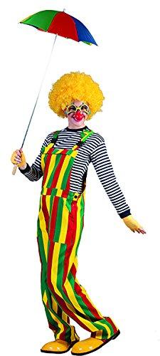 erdbeer-clown - Kostüm Latzhose - Witziger Unisex Overall mit bunten Streifen und Verschluss, M, Mehrfarbig