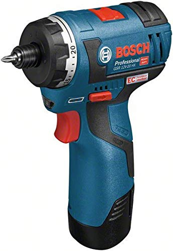 Bosch 06019D4105 Professional Akku-Schrauber GSR 12V-20 HX, mit 2 x 3,0 Ah Li-Ion, 12 V, Schwarz, Blau